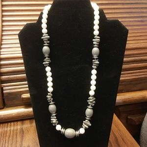 16 Inch White & Gray Bead Fashion Necklace